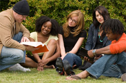 Group of adults gathered in a book study group