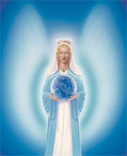 spiritual healing, mother mary holding the world