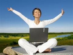 lady expressing joy at reading spiritual quotes