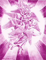 Archangel Zadkiel and violet flame angels