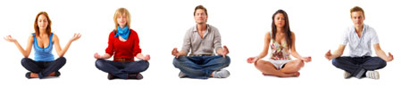 Young people in spiritual meditation